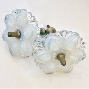 Antique Pair of Opalite Flower Curtain Tie Backs